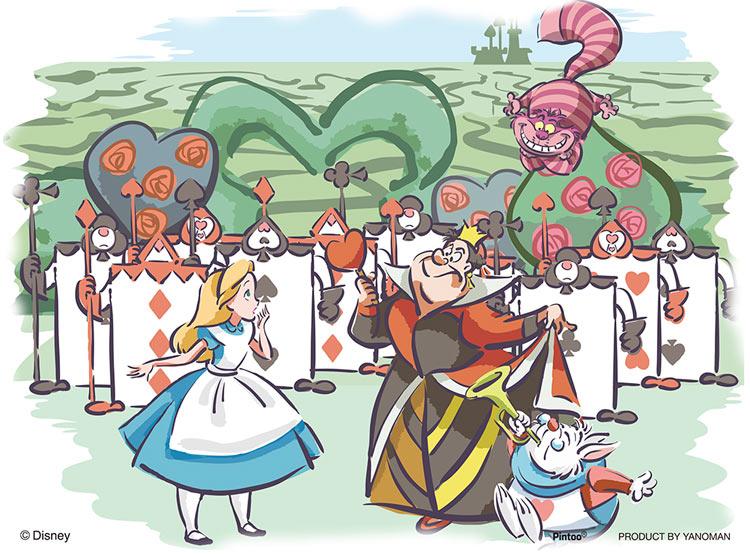 Yam 2301 21 ディズニー ふしぎの国で 不思議の国のアリス 150ピース やのまん の商品詳細ページです 日本最大級のジグソーパズル通販専門店 ジグソークラブ